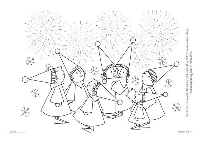 Free printable coloring page download - fireworks - by marion/Alpha Angle